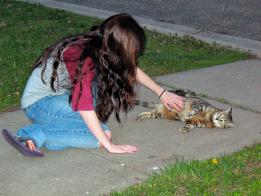 Photo of a long-haired young woman bending down and petting a stripy cat, who's lying on his side.