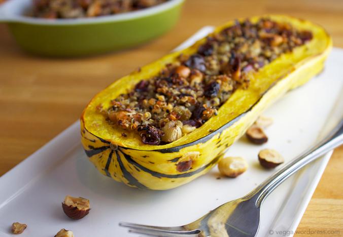 Nutty Quinoa-Stuffed Delicata Squash