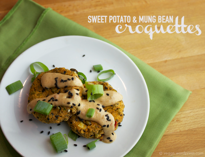 Sweet Potato and Mung Bean Croquettes with Peanutty Coconut Sauce
