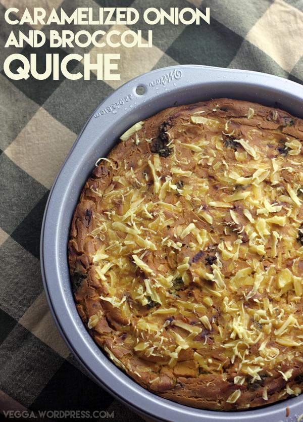 Caramelized Onion and Broccoli Quiche | vegga