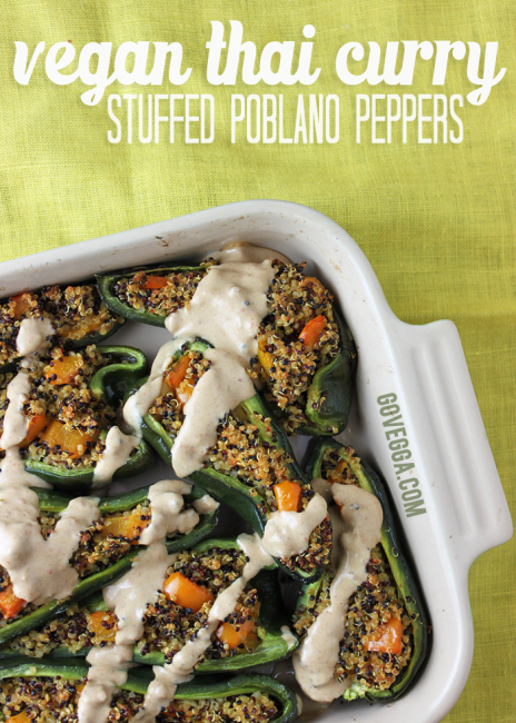 Vegan Thai Curry Stuffed Poblano Peppers // govegga.com