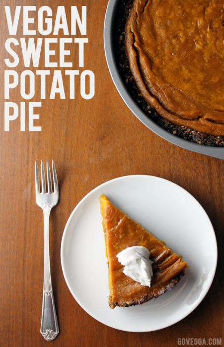 Gluten-Free Vegan Sweet Potato Pie with a Pecan-Date Crust // govegga.com
