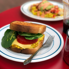 A tofu egg sandwich on thick Texas toast