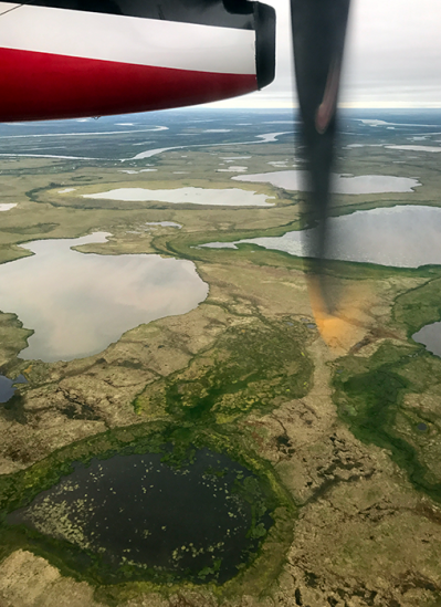 Flight from Anchorage to Bethel -- propeller over marshy tundra
