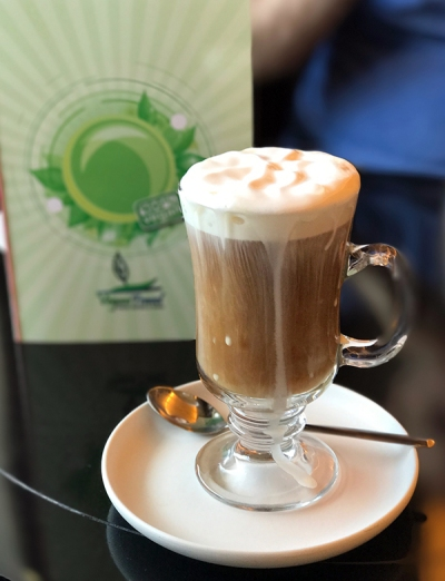 Vegan Irish coffee on all-vegan cruise