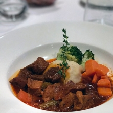 Vegan seitan stew on vegan cruise
