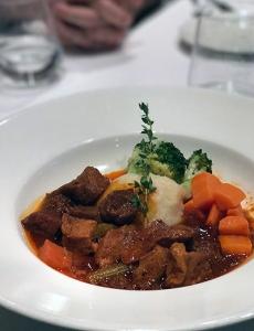 Vegan seitan stew on vegan cruise