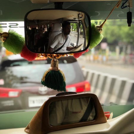 Rear-view mirror in our van