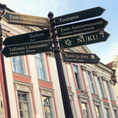 Sign post in Tallinn, Estonia